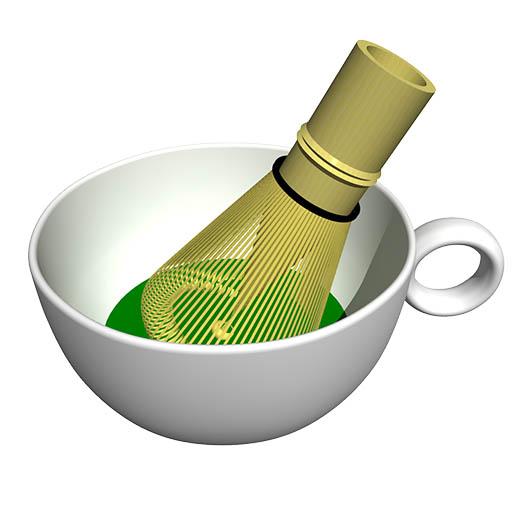 コーヒーカップ内の抹茶を茶筅で練る。