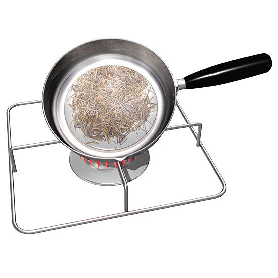 乾燥した棒茶を更に炒ってほうじ茶にする、