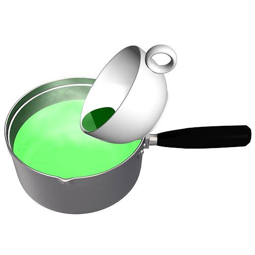 コーヒーカップ内の溶かした抹茶を牛乳の入った鍋に入れて混ぜる。