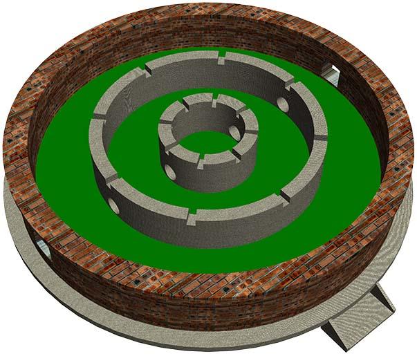 丸山タンクの土台3Dの構造図
