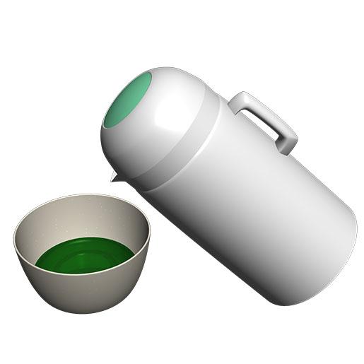 茶碗にホットからお湯を注ぐ。
