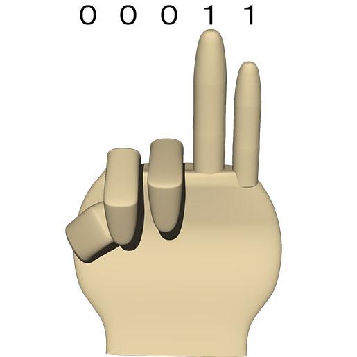 次が 00011 となり (10進数の 3)