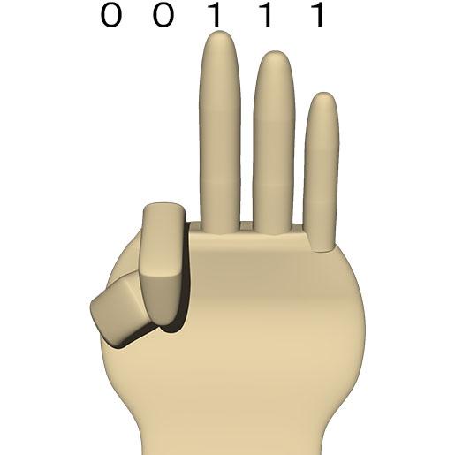 次は 00111 (10進数の 7)