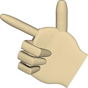 あっち、そっち、指差し または手でピストル