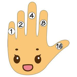 指(桁)の重さ図